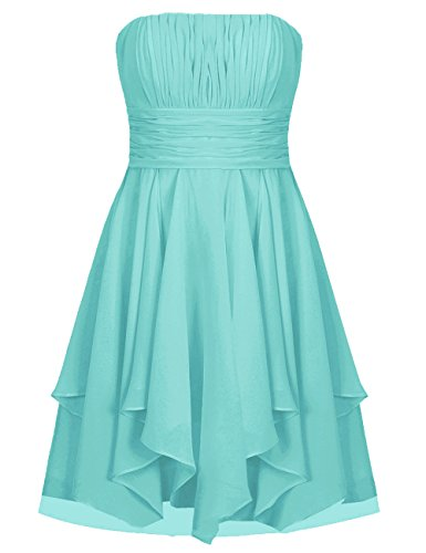 EDressy Chiffon Bridesmaid Dresses Short Prom Party Dress Strapless Homecoming Formal Gowns Turquoise US 4