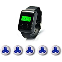Wireless Pagers Calling System Table Service Call Buzzers Beepers Caregiver Alert for Restaurant Hotel Nursing Home 1 pc Wrist Receiver + 5 pcs Waterproof Call Buttons