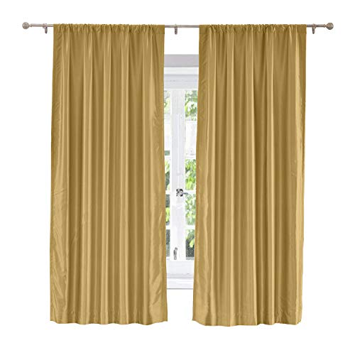 Cotton Sahara Curtain - ChadMade Soundproof Energy Saving Polyester Cotton Silk Solid Curtain Gold 50