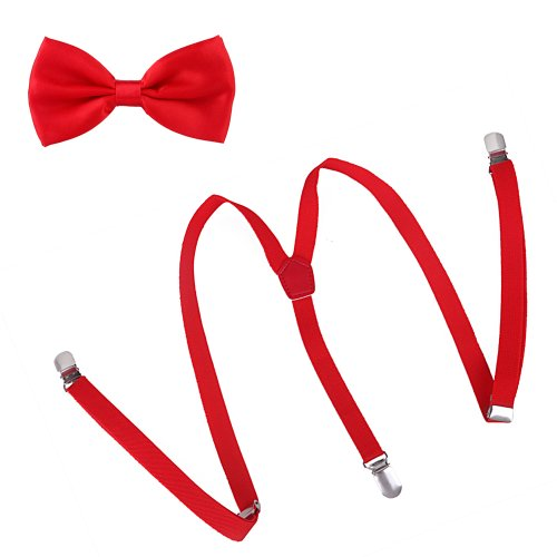 HDE Matching Skinny Suspender Pre Tied