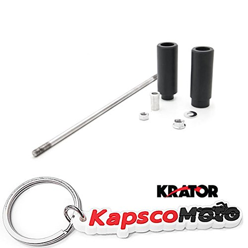 Krator Suzuki SV650 / SV1000 / DL650 / DL1000 No Cut Black Frame Sliders (All Years) Frame Bobbins Sliders Crash Protectors Motorcycle Sportbike + KapscoMoto Keychain