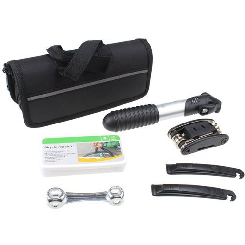 Kit Tool Bicycle Repair (AGPtek® 16 in 1 Bicycle Cycling Tyre Repair Multi Tool Set Kits With Mini Portable Pump)