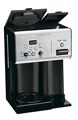 Cuisinart CHW-12 Coffee Plus 12-Cup Programmable Coffeemaker with Hot Water System, Black/Stainless