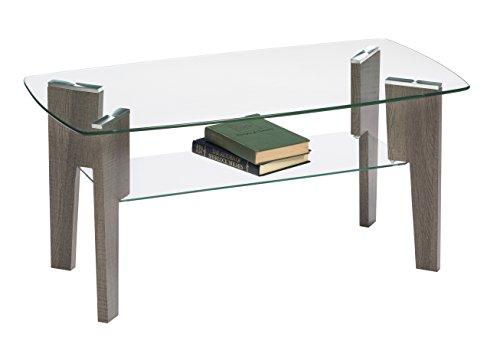Mango Steam Mid Century Modern Glass Top Coffee Table, 37