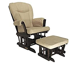 Shermag Combo Glider Chair and Ottoman, Espresso/Beige