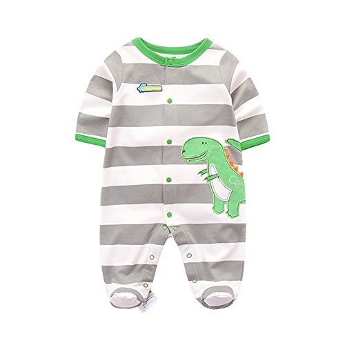 Footed One Piece Bodysuit - Fairy Baby Newborn Baby Boys Girls Footed Pajamas Long Sleeve Animal Print Sleeper Romper Size 0-3M (Striped Dinosaurs)