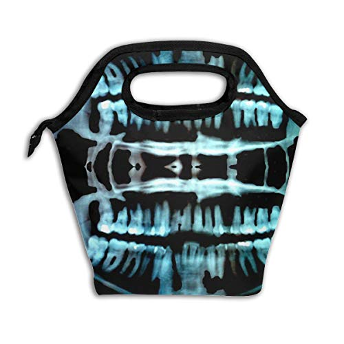 Halloween Spooky Skeleton Teeth Reusable Insulated Lunch Bag Cooler Tote Box with Zipper Closure for Woman Man Work Pinic Or Travel]()