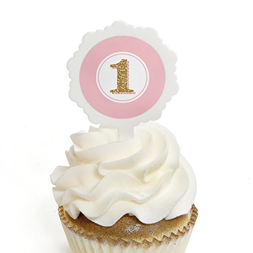 1st Birthday Girl - Fun to be One - Cupcake Picks with Stickers - Birthday Party Cupcake Toppers - 12 Count 1st Cupcake Centerpiece