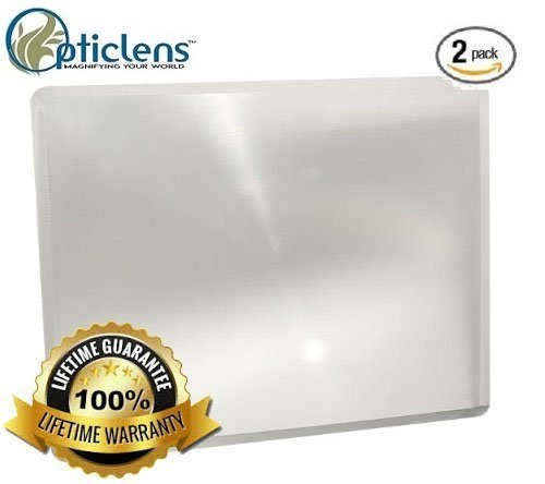 Opticlens Brand (2) Pack Full Page 3x Magnifier / Plastic Magnifying Sheet Fresnel Lens, 7