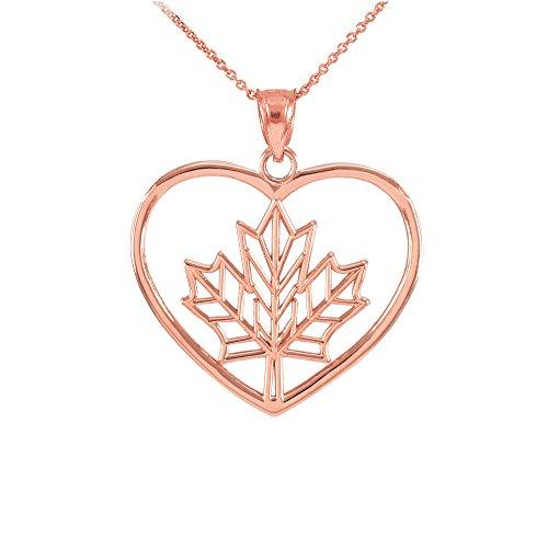 Collier Femme Pendentif 14 Ct Or Rose Feuille D'Érable Ouvert Cœur (Livré avec une 45cm Chaîne)