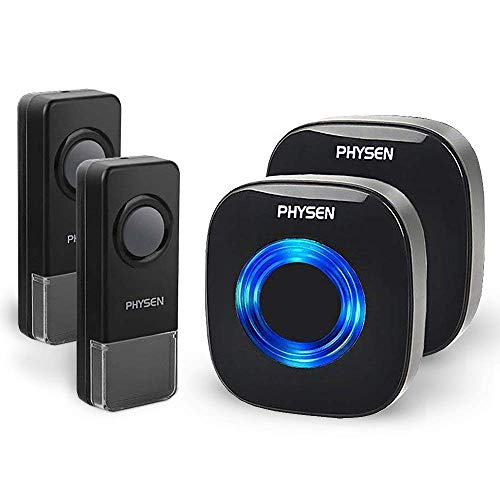 Physen Model CW Waterproof Wireless Doorbell kit Operating at 1000 feet Long Range,4 Levels Volume and 52 Melodies Chimes Black,No Batteries Required for Receiver