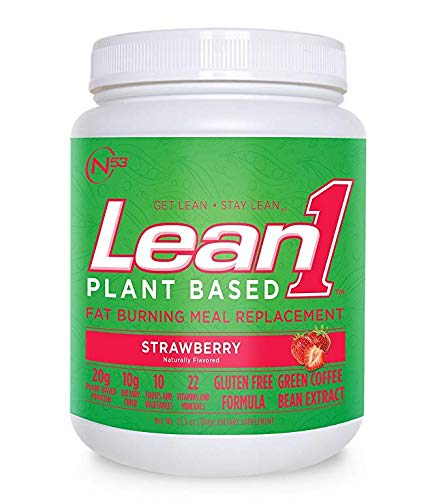LEAN1 Nutrition 53 Meal Replacement Powder for Weight Loss, Fat Burner, Appetite Control, Plant Based Strawberry (32 Ounce) (Best Fat Burning Protein Shake)