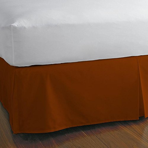 Split Corner Bed Skirt 15 Inch Drop 100% Egyptian Cotton 600 Thread Count Luxurious & Hypoallergenic Easy to Wash Wrinkle & Fade Resistant (Queen, Brick Red) (Brick Curtains Colored)