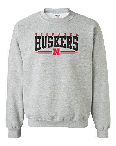 CornBorn Nebraska Sweatshirt - Nebraska Huskers Stripe N - Gray - Medium