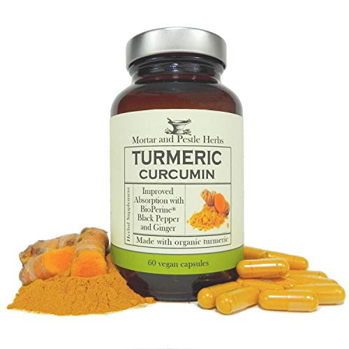 Mortar and Pestle Herbs Turmeric Curcumin Capsules - Extra Strength - 1000mg Pure Organic Turmeric supplement, 95% Standardized Curcumin Extract with BioPerine pepper and Ginger - Made in - Herbs Pestle