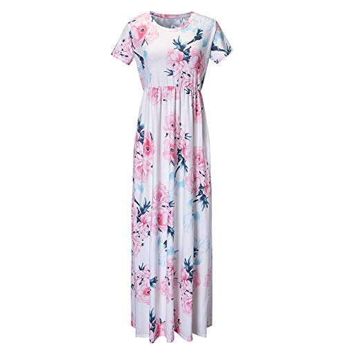 ✩HebeTop Women's Floral Print Long Dress Short Sleeve Empire Flower Maxi Dresses White ()