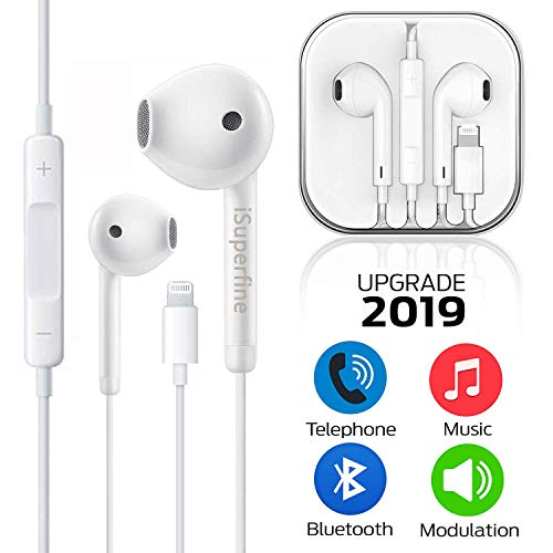 iSuperfine Earbuds, Microphone Earphones Stereo Headphones Noise Isolating Headset Compatible with iPhone X/XS/Max/XR/8/Plus/7/Plus Earphones (White)