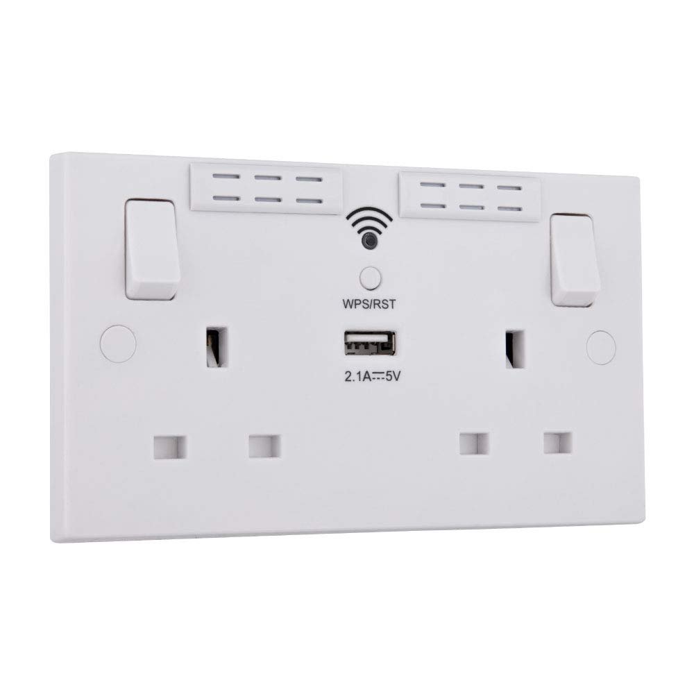 White BG Electrical 922WR 13A Double Switched Socket WIFI Repeater