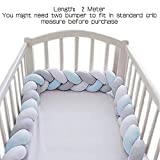 Wonder Space Baby Crib Bumper, 2 Meters Soft Long Braided Knotted Bed Fencing, Newborn Infant Toddler Nursery Cradle Cot Protection Pad Bedding Accessories Knot Plush Pillow (Blue/Grey/White)