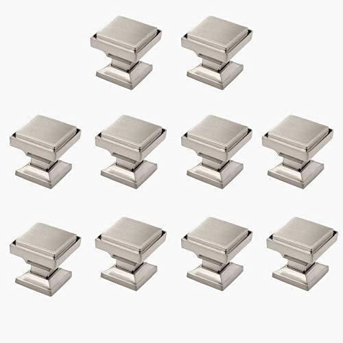 "10 Pack - Aviano Cabinet Hardware Modern Zane Square Knob - 1-1/8"" - Satin Nickel"