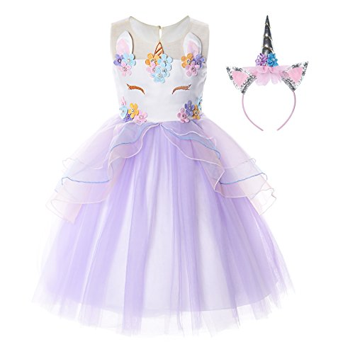JerrisApparel Flower Girls Unicorn Costume Pageant Princess Party Dress (4 Years, Purple) ()