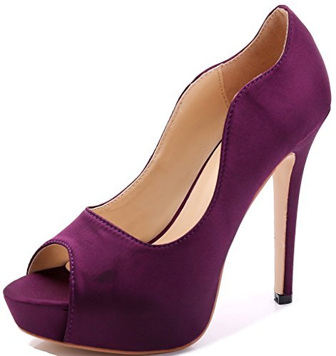 Littleboutique New Peep Toe Satin Wedding Platforms Stiletto Evening Dress Pumps Bridal Shoes Heels grape 9 (Pump Peep Dress Satin Toe)