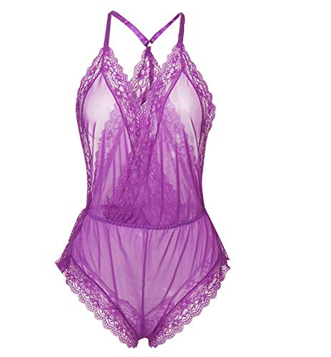 QJXSAN Women's Underwear Lace Leotard Features Clear Eyelash Lace and Shorts Tights ()