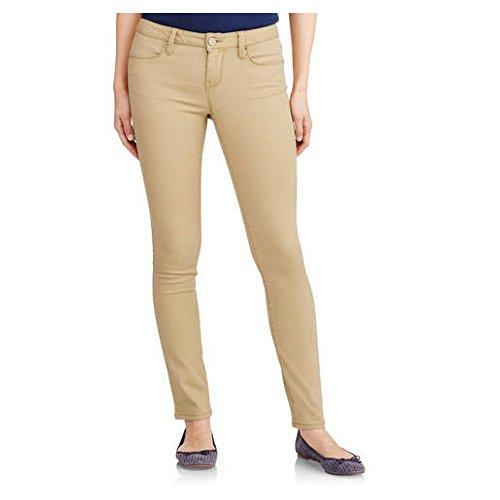 No Boundaries Juniors Classic Skinny Blue Jean Pants (7, Khaki) ()