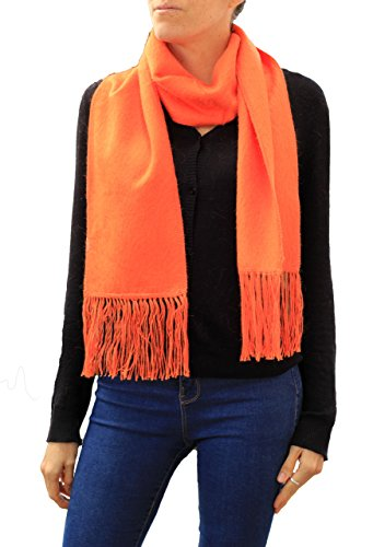 TINKUY PERU 100% Alpaca Wool Peruvian Unisex Woven Brushed Fringes Stole Scarf (Orange) Brushed Wool Scarf