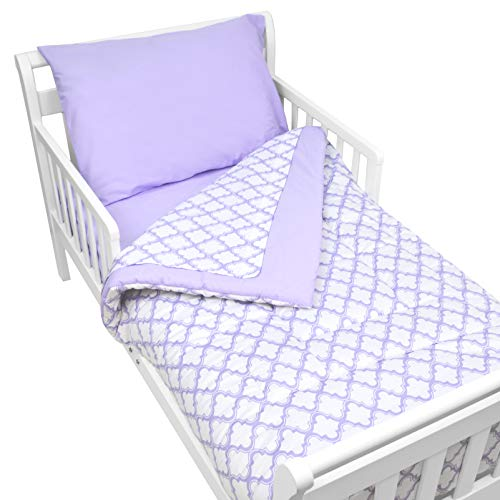 y 4-Piece Cotton Percale Toddler Bedding Set for Boys and Girls, Lavender Morrocan ()