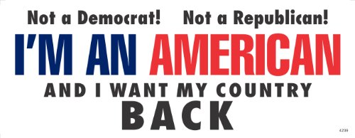 I WANT MY COUNTRY BACK - Anti Obama Political Bumper Sticker