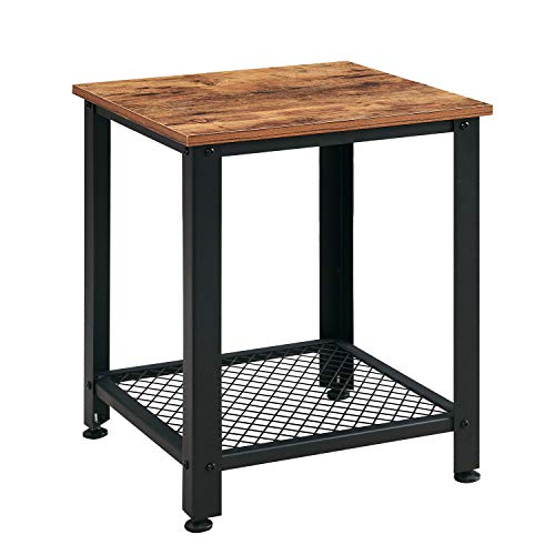 VINEXT Nightstand, Rustic End Table for Living Room, Bedroom, Side Table with 2-TierStorage Shelf, Sturdy and Easy Assembly, Vintage Brown