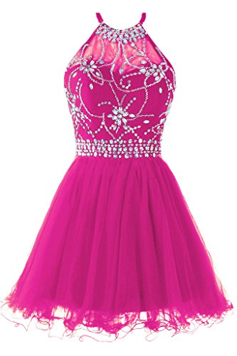 Musever Women's Halter Short Homecoming Dress Beading Tulle Prom Dress Fuchsia US 12 -