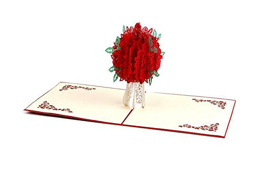 lilliCraftGift 3D Pop Up Greeting Papercraft Cards with Envelope Loving Rose Flower for Valentine Birthday Thanksgiving New Year's Christmas