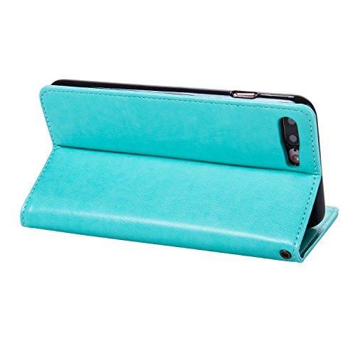 JIALUN-carcasa de telefono Caja de cuero de la PU de la carpeta, cubierta del caso del soporte del tirón de Folio con el sostenedor y ranuras de la tarjeta y encierro magnético para el iPhone 7 más (  Green