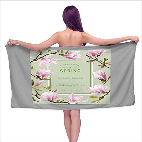 Aurauiora Soft Bath Towel Vintage Floral Colorful Frame - for Invitation Wedding Baby Shower,W10 xL39 for bathrooms, Beaches, -
