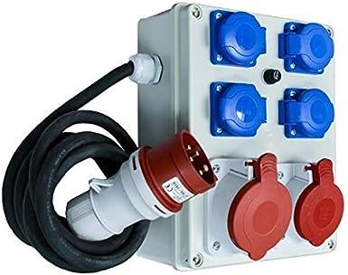 Baustromverteiler Stromverteiler CEE16A auf 3 x 230V Schuko IP44 Verteiler