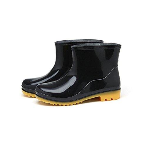 Flyrioc Men's Antiskid Ankle Short Rubber Shoes Washing Work Boots Garden Shoes Black US 9