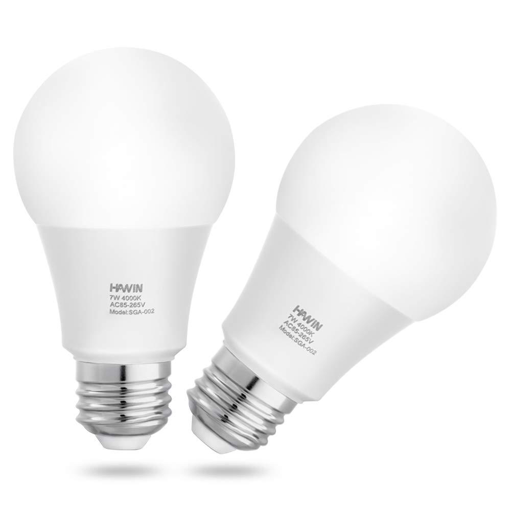 センサーライト電球Dusk to Dawn LEDライト電球スマートライトランプ7 W e26 /e27自動on/off、インドア/アウトドアポーチガレージの庭廊下(ウォームホワイト2700 K/デイライトホワイト4000 K/コールドホワイト6000 K、2パック) 7w dusk to dawn bulb 7w dusk to dawn bulb 4000k Daylight White B07DCRQFSC