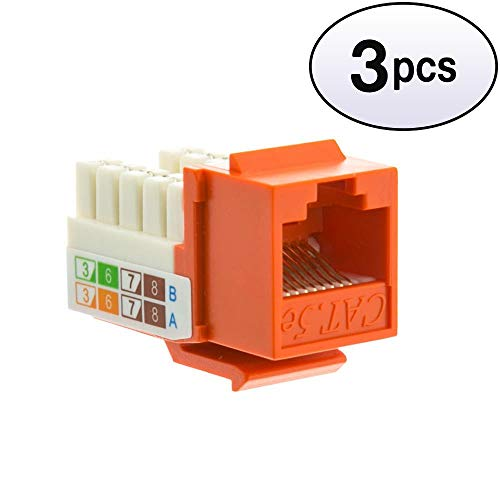 GOWOS (3 Pack) Cat5e Keystone Jack, Orange, RJ45 Female to 110 Punch Down -