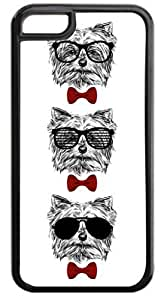 3 Hipster Puppies-Shades and Red Bow Ties- Case for the APPLE IPHONE 4, 4s-Hard Black Plastic Outer Case with Tough Black Rubber Lining