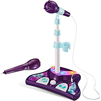 L P Kids Karaoke Machine with 2 Microphones and Adjustable Stand, Music Sing Along with Flashing Stage Lights and Pedals for Fun Musical Effects