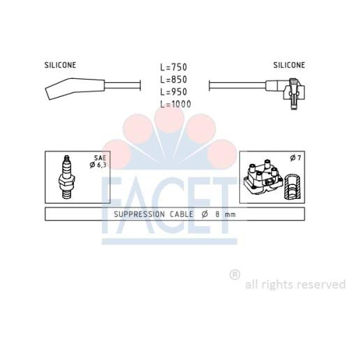 Facet 4.9639 Ignition Leads Kit: