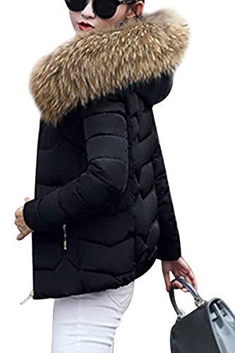 Coreana Cerniera Chic Manica Pelliccia Invernali Collo Laterali Moda Schwarz Lunga Con Cappuccio In Monocromo Piumini Donna Tasche Hot 1 Outerwear Mantello Elegante Cute zwa46