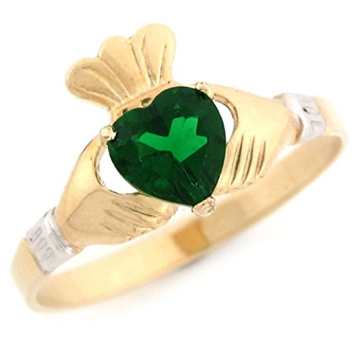 Jewelry Liquidation 10k Two Tone Gold Claddagh Simulated Heart Emerald May Birthstone Ring ()