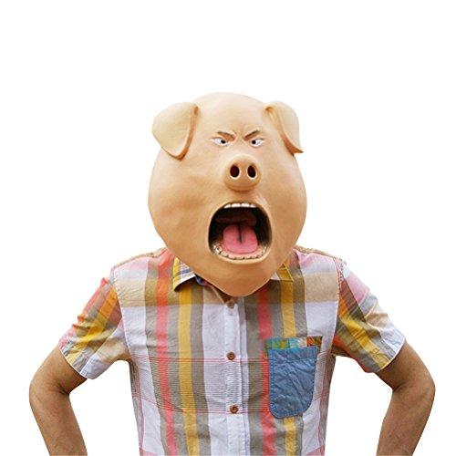 Pig Mask Latex, Realistic Funny Halloween Animal Costume Cosplay Headgear (One Average (Adult Swine Latex Mask)