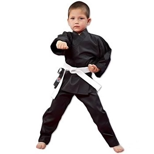 Pro Force 6oz Student Karate Gi / Uniform - Black - Size 0,Black,Size 0 (45