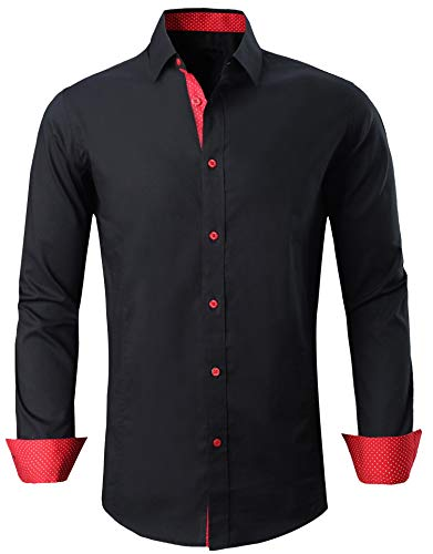 Esabel.C Men's Long Sleeve Solid Dress Shirts Regular Fit Casual Button Down Shirts Black XXL