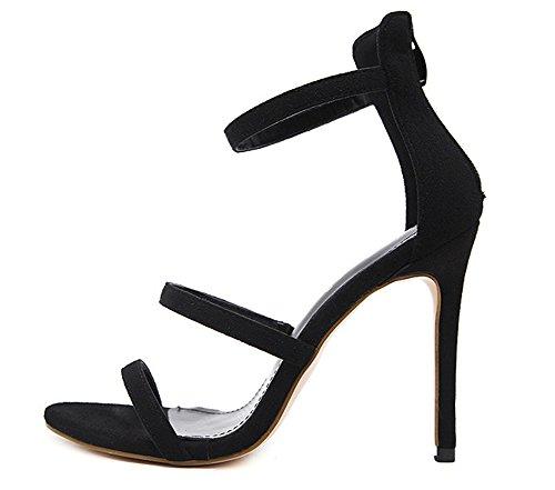 Aisun Damen Basic Offene Zehen Spangen Knöchelriemchen Stiletto Sandale mit Reißverschluss Schwarz