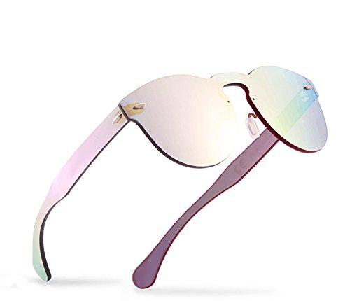 2020VentiVenti Colored Sunglasses for Women Mirrored Glasses Rimless Round Lens PC1602C03 (Revo Pink, - Women Cool For Sunglasses